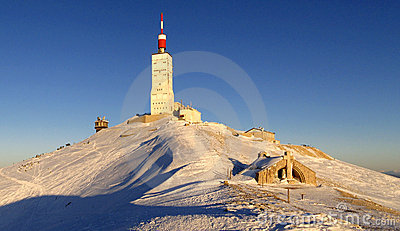 Dusk in winter at Mont Ventoux summit