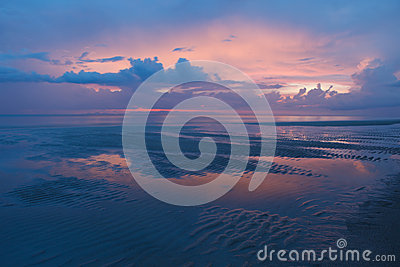 Dusky time twilight colorful sky and natural sand
