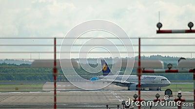 Airplane braking after landing stock video footage