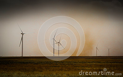 Dust Storm passes by wind turbines