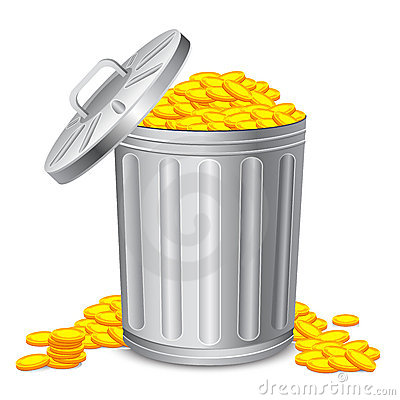 Dustbin full of Coin