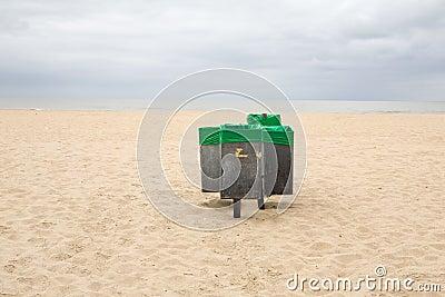 Dustbins on the beach
