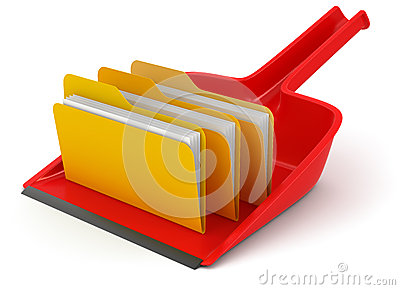 Dustpan with folders (clipping path included)