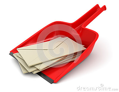 Dustpan and letters (clipping path included)
