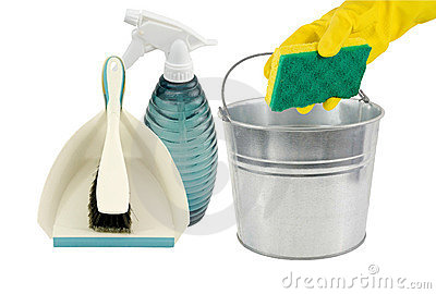 Dustpan,spray bottle pail and sponge