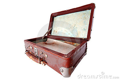 Dusty open brown  suitcase