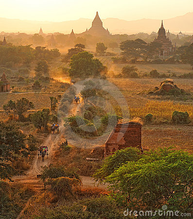 Dusty road in bagan,myanmar.