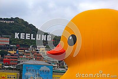 Dutch artist Florentijn Hofman's Rubber Duck in Keelung Editorial Image