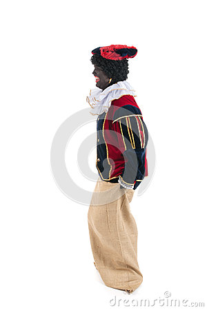 Dutch black pete jumping in jute bag