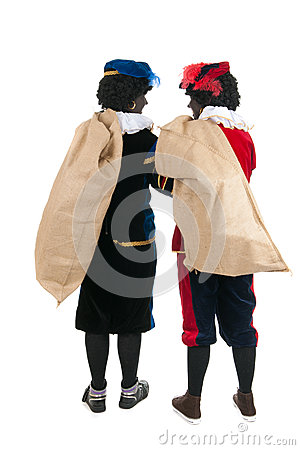 Dutch black petes with presents in jute bags