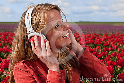 Dutch blond girl with headphones