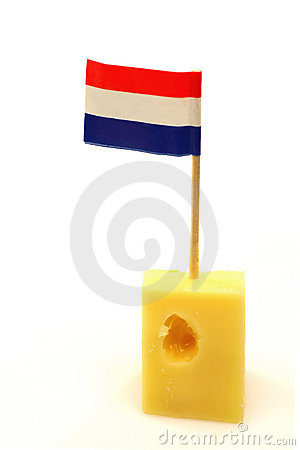 Dutch cheese with a little Dutch flag