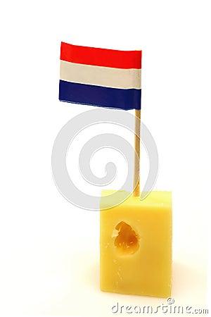 Dutch cheese with a little Dutch flag