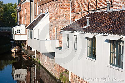 Dutch city with house extensions above the canal