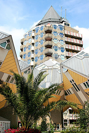 Dutch cube houses and Pencil Tower, Rotterdam