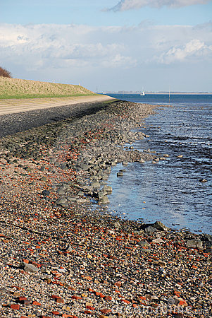 Dutch dike ebb low tide