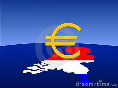 Dutch euro sign with map