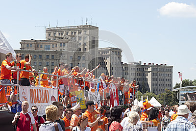 Dutch fans relaxing and rejoice Editorial Stock Image