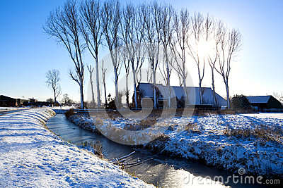 Dutch farmhouse in winter