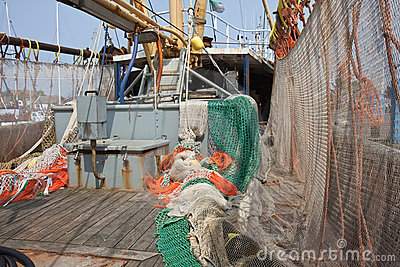 Dutch Fishing ship with drying nets at the deck