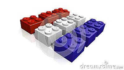 Dutch flag made with blocks