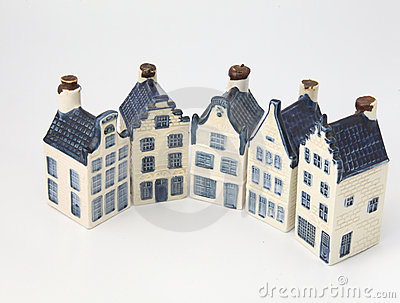 Dutch historical ceramic houses in Delft china