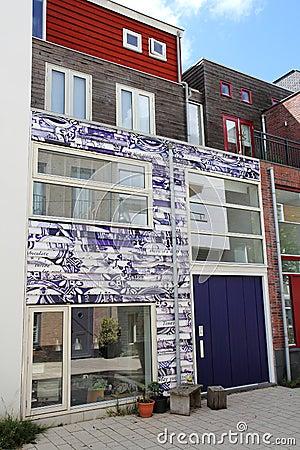 Dutch home with Delft blue facade