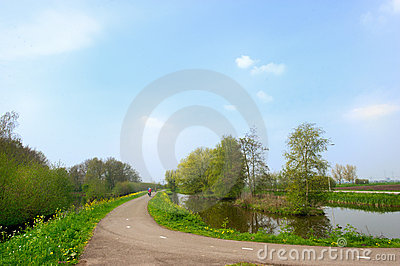 Dutch landscape with road Stock Photo