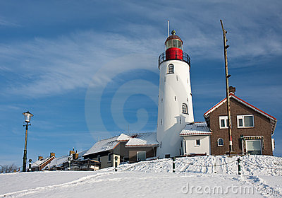Dutch lighthouse in wintertime