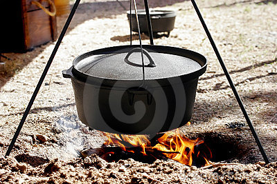 Dutch Oven Cooking Over Open Flame