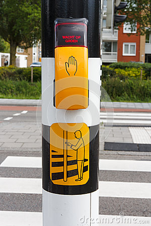 Free Dutch Pedestrian Light With Button And Text  To Wait For Green L Stock Image - 76468761