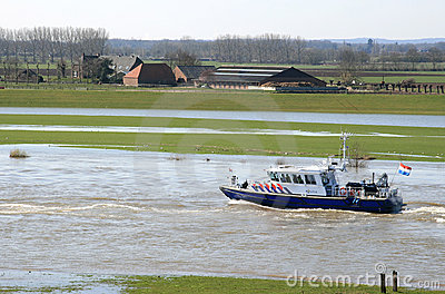Dutch police boat on the river Editorial Photo
