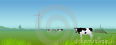 Dutch rural landscape with cows and windmill
