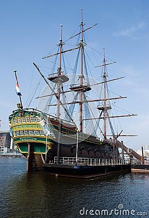Dutch ship in NEMO museum Amsterdam Editorial Stock Photo
