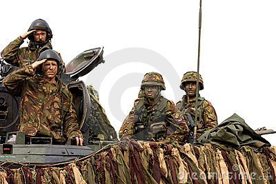 Dutch soldiers upon a battle tank Editorial Photography