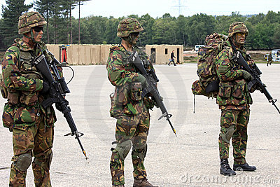 Dutch soldiers with machine guns Editorial Photo