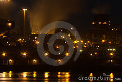 Dutch steel factory in IJmuiden at night