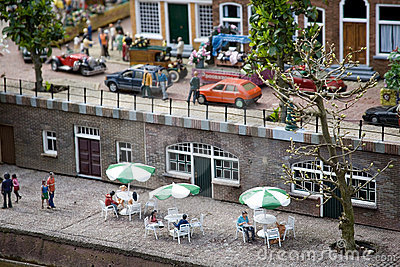 Dutch street cafe in the miniature city Madurodam