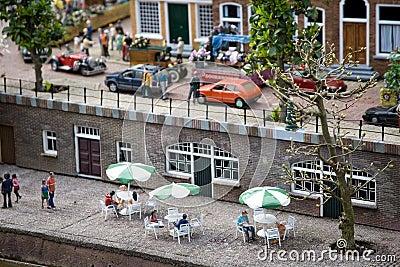 Dutch street cafe in the miniature city Madurodam