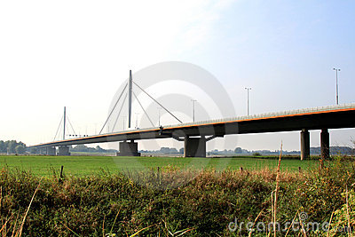 Dutch suspension bridge over the Waal river