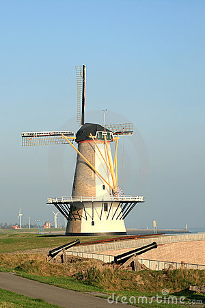 Free Dutch Tower Mill And Cannons Stock Photos - 4789233