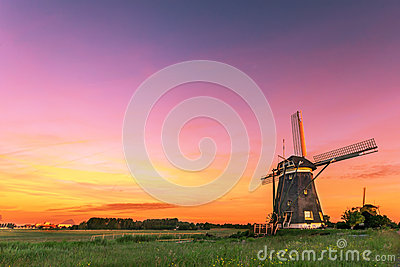 Dutch water managment with the windmills with free place for message
