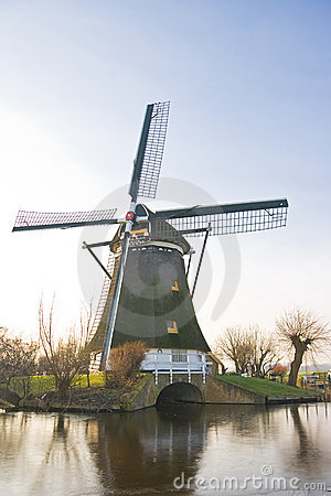 Free Dutch Windmill In Polder Winter Landscape Stock Photos - 7963953