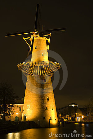 Dutch windmill at night
