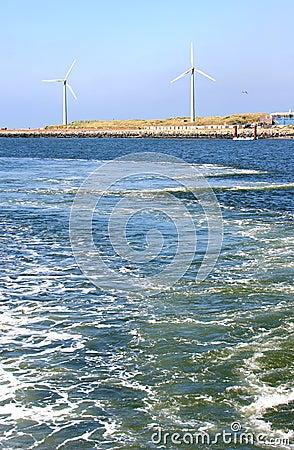 Dutch windmills along the North Sea coast