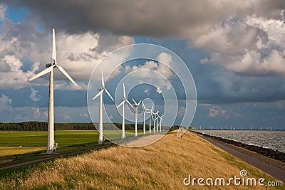 Dutch Windturbines and a cloudscape