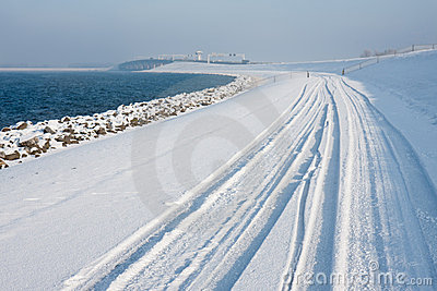 Dutch winter with snowy dike