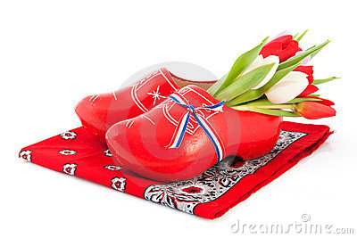 Dutch wooden clogs with tulips