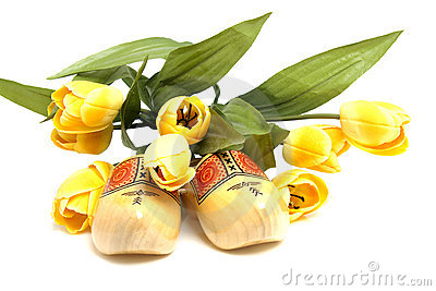 Dutch wooden shoes and silk tulips