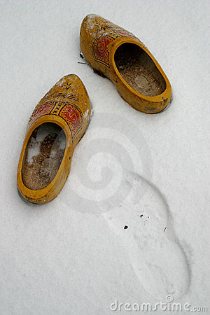 Dutch wooden shoes in the snow